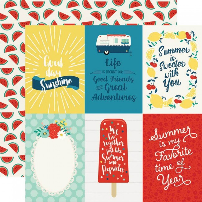 Papel Estampado Doble Cara 12x12 Good Day Sunshine 4x6 Journaling Cards