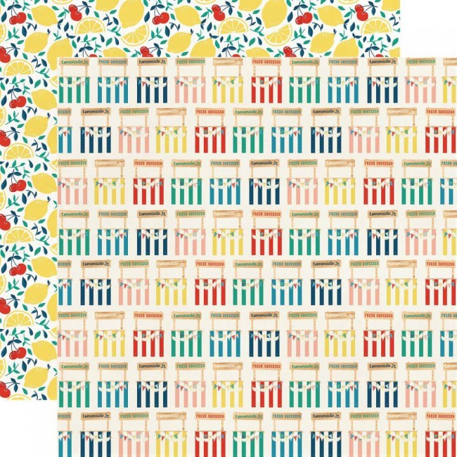 Papel Estampado Doble Cara 12x12 Good Day Sunshine Lemonade Stand