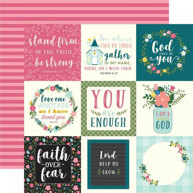 Papel Estampado Doble Cara 12x12 Have Faith 4x4 Journaling Cards