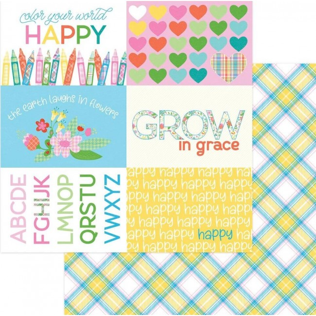 Papel Estampado Doble Cara 12x12 Mad 4 Plaid Happy Colors