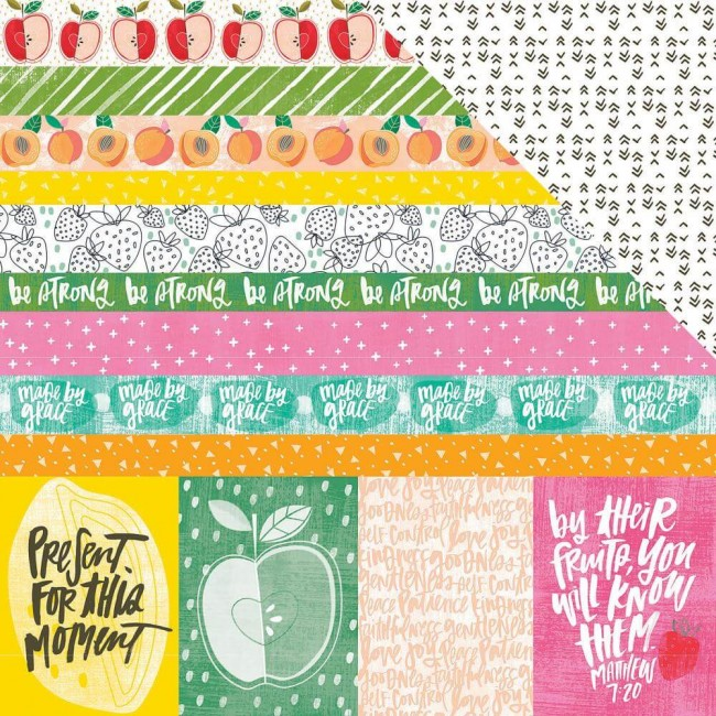 Papel Estampado Doble Cara 12x12 Fruit Of The Spirit 3x4