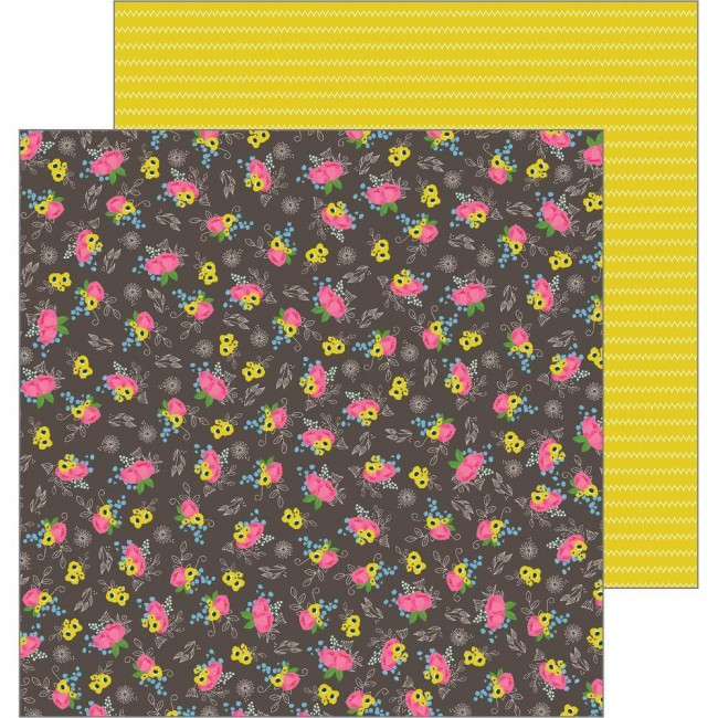 Papel Estampado Doble Cara 12x12 My Bright Life Stitched Flowers