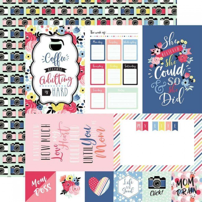 "Papel Estampado Doble Cara 12x12 I Am Mom 4""X6"" Journaling Cards"