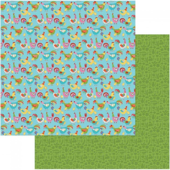 Papel Estampado Doble Cara 12x12 What's Cooking Chicken Coop