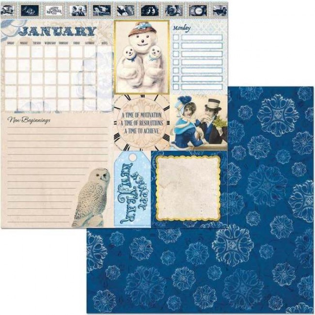 Papel Estampado Doble Cara 12x12 Banner Year January