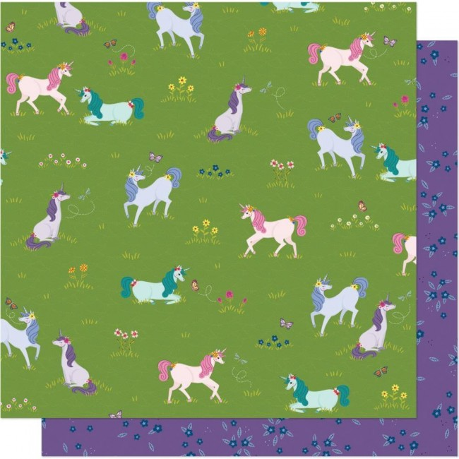 Papel Estampado Doble Cara 12x12 Head In The Clouds Unicorn Crossing