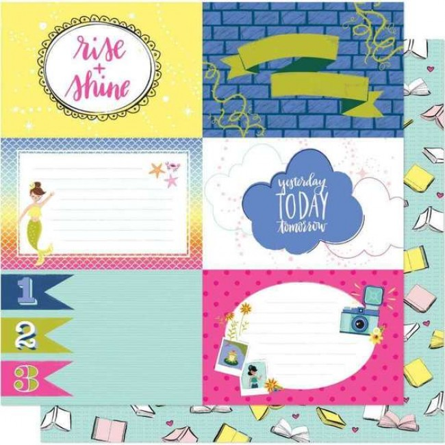 Papel Estampado Doble Cara 12x12 Head In The Clouds All Booked Up
