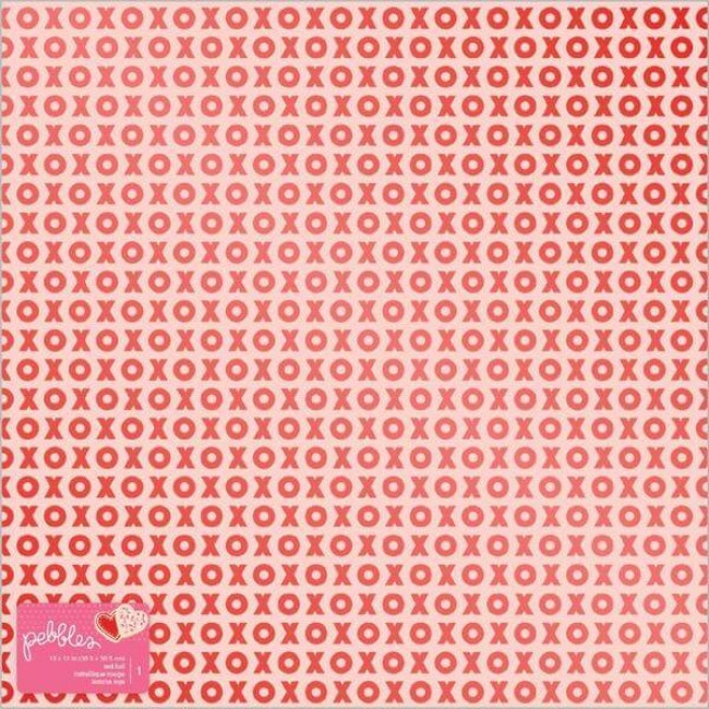 Papel Estampado Una Cara 12x12 Loves Me Red Foil