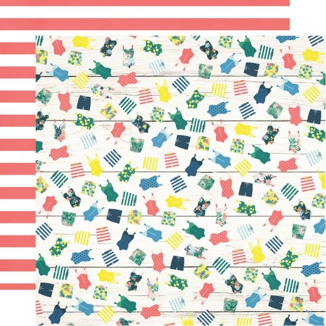 Papel Estampado Doble Cara 12x12 Sunshine & Blue Skies Get A Tan