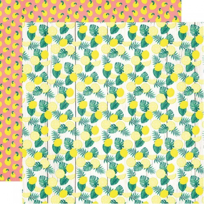 Papel Estampado Doble Cara 12x12 Sunshine & Blue Skies Lemonade Stand