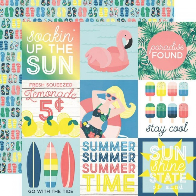 "Papel Estampado Doble Cara 12x12 Sunshine & Blue Skies 4""X4"" Elements"