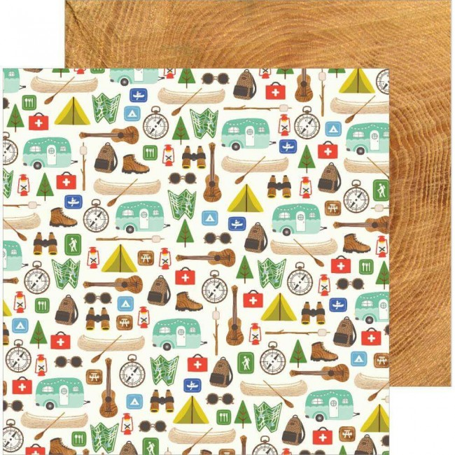 Papel Estampado Doble Cara 12x12 Chasing Adventures The Great Outdoors