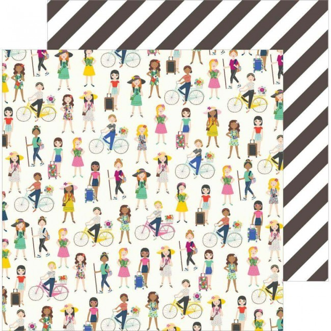 Papel Estampado Doble Cara 12x12 Chasing Adventures On The Go Girls