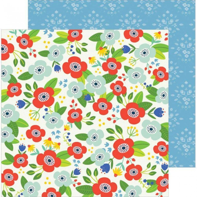 Papel Estampado Doble Cara 12x12 Chasing Adventures Flower Market
