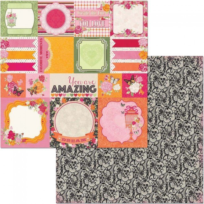 Papel Estampado Doble Cara 12x12 Sweet Clementine Memories