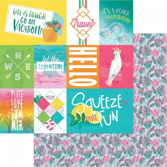 Papel Estampado Doble Cara 12x12 Squeeze In Some Fun Summer
