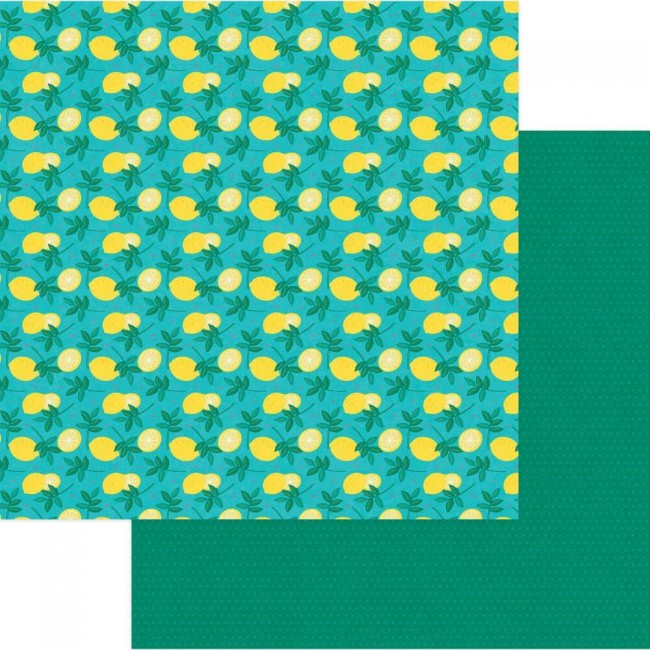 Papel Estampado Doble Cara 12x12 Squeeze In Some Fun Lemonade
