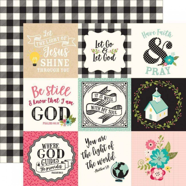 Papel Estampado Doble Cara 12x12 Forward With Faith 4x4 Journaling Cards