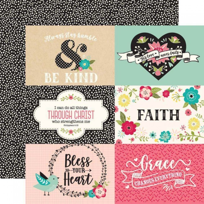 Papel Estampado Doble Cara 12x12 Forward With Faith 6x4 Journaling Cards