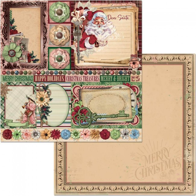 Papel Estampado Doble Cara 12x12 Christmas Treasures Dear Santa
