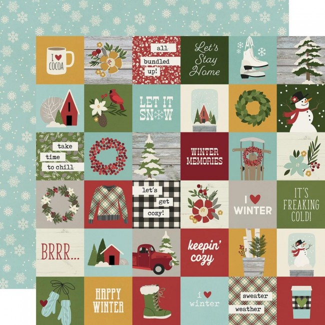 "Papel Estampado Doble Cara 12x12 Winter Farmhouse 2""X2"" Elements"