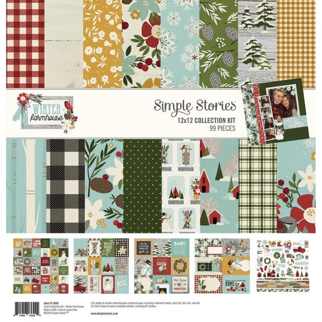 Kit Papeles Estampados 12x12 Winter Farmhouse