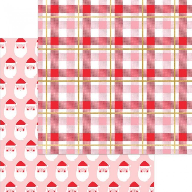 Papel Estampado Doble Cara 12x12 Holly Jolly Here Comes Santa Claus