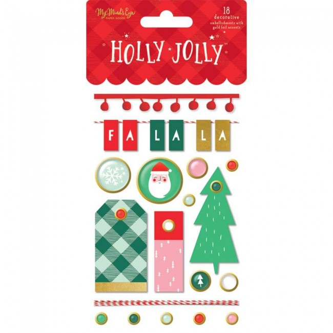 Brads Holly Jolly Gold Foil Accents
