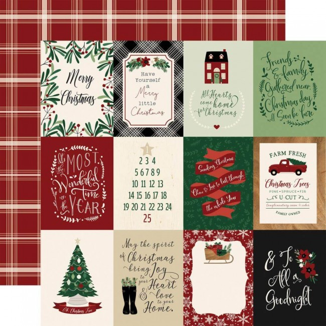 Papel Estampado Doble Cara 12x12 A Cozy Christmas 3x4 Journaling Cards