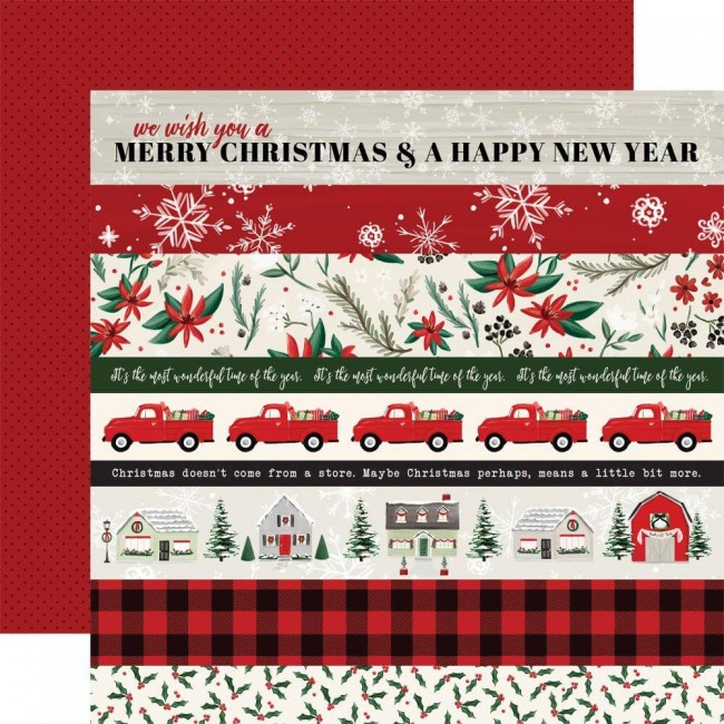 Papel Estampado Doble Cara 12x12 Christmas Market Border Strips