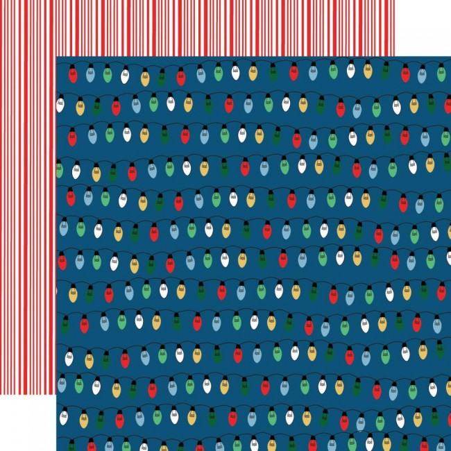 Papel Estampado Doble Cara 12x12 Merry Christmas Christmas Lights