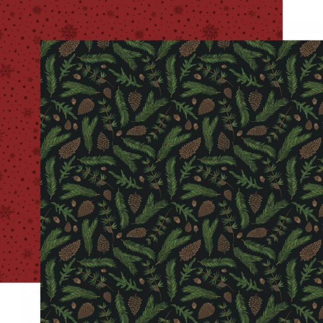 Papel Estampado Doble Cara 12x12 Warm & Cozy Pine Boughs