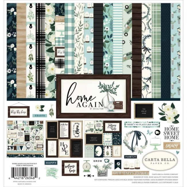 Kit Papeles Estampados 12x12 Home Again