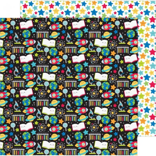 Papel Estampado Doble Cara 12x12 School Days Scientific