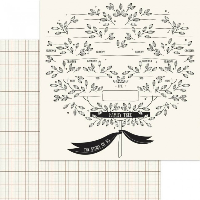 Papel Estampado Doble Cara 12x12 My Heritage Family Tree