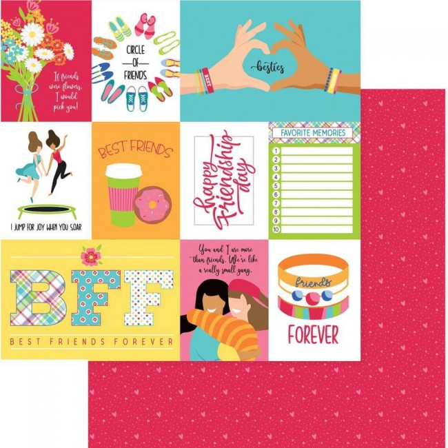 Papel Estampado Doble Cara 12x12 Best Friends Besties