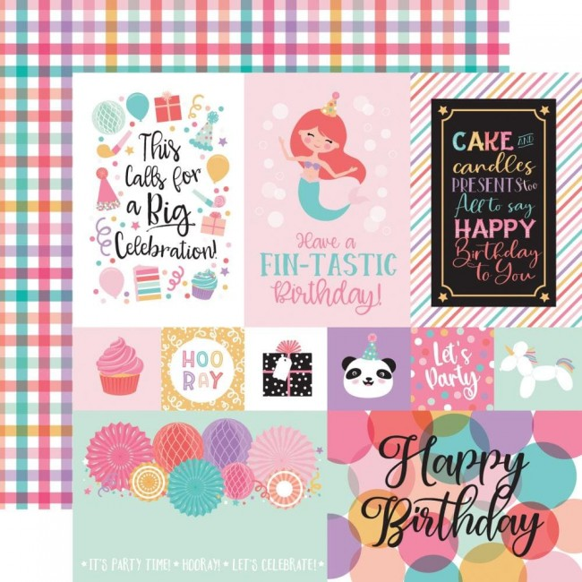Papel Estampado Doble Cara 12x12 It's Your Birthday Girl Multi Journaling Cards