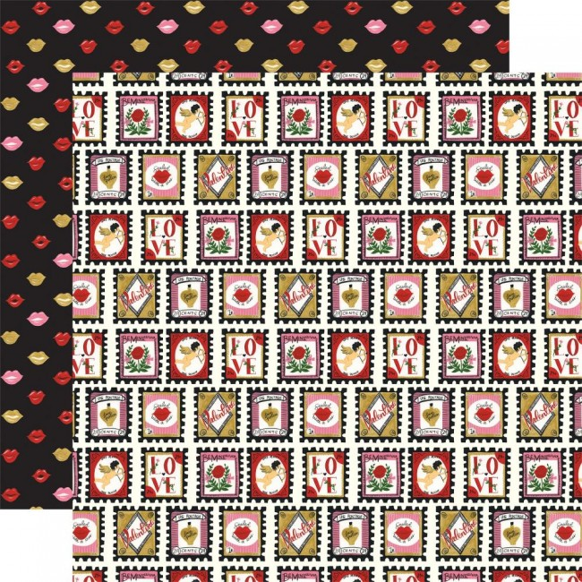 Papel Estampado Doble Cara 12x12 Be My Valentine Love Stamps