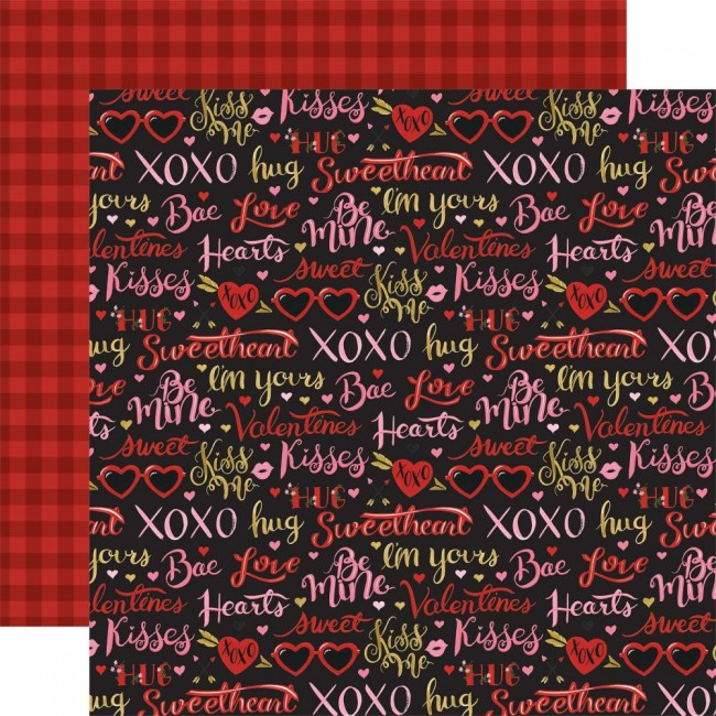 Papel Estampado Doble Cara 12x12 Be My Valentine Be Mine