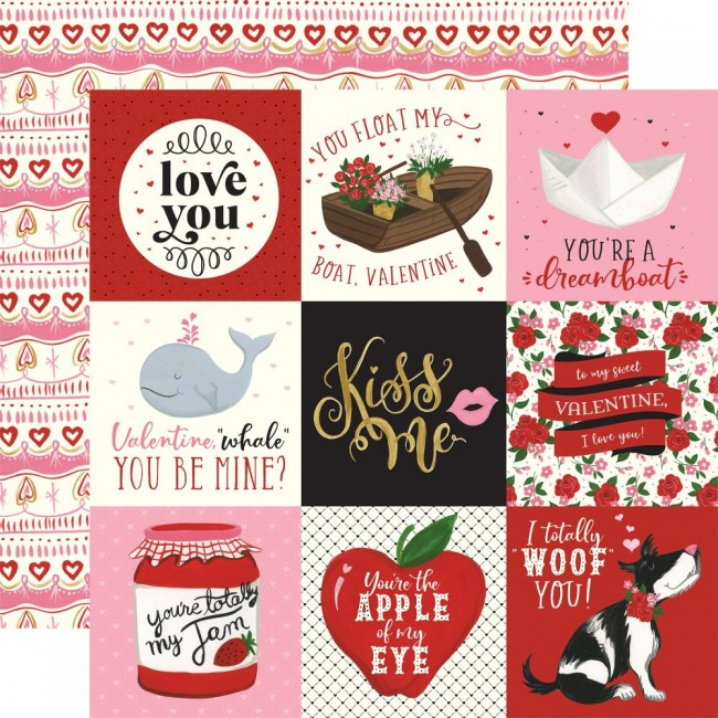 "Papel Estampado Doble Cara 12x12 Be My Valentine 4""X4"" Journaling Cards"