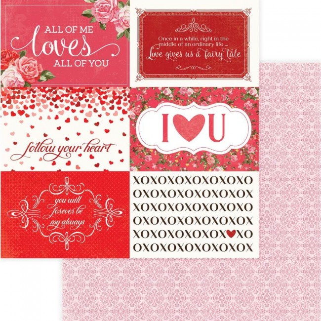 Papel Estampado Doble Cara 12x12 Be Mine Follow Your Heart