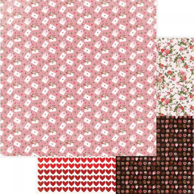 Papel Estampado Doble Cara 12x12 Be Mine Love Letter