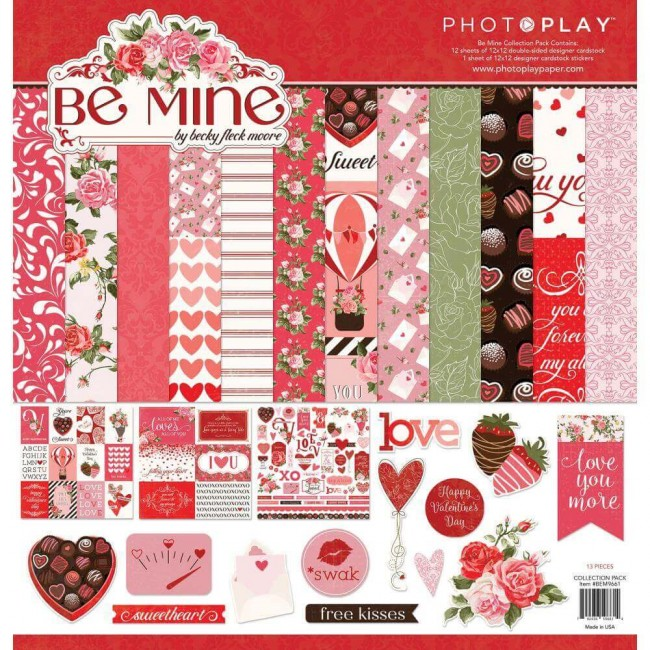 Kit Papeles Estampados 12x12 Be Mine Be Mine