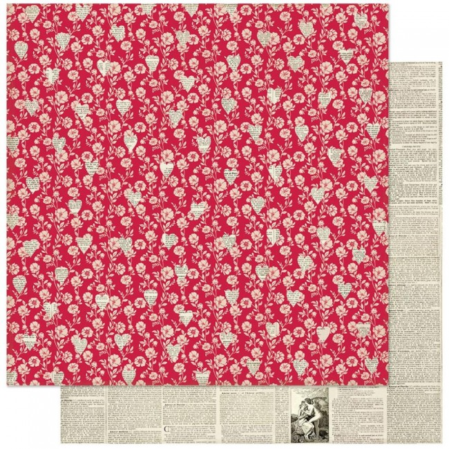 Papel Estampado Doble Cara 12x12 Love Notes #1 Red Floral