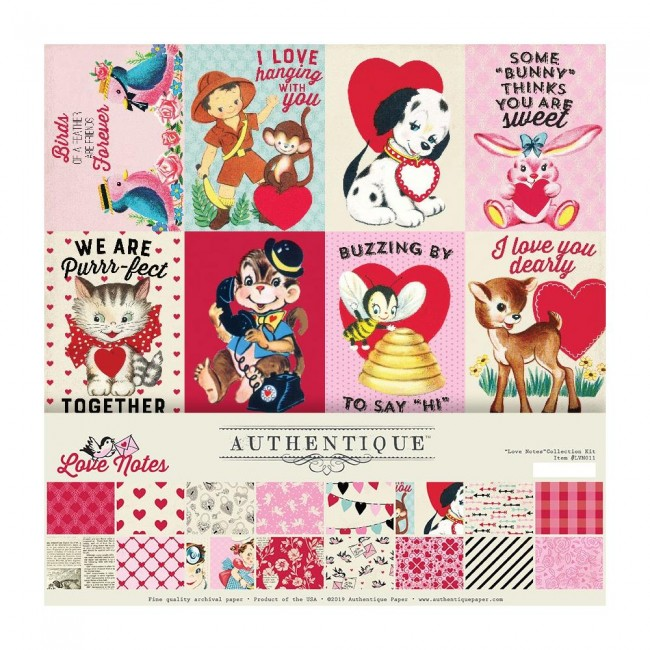 Kit Papeles Estampados 12x12 Love Notes