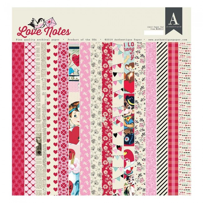 Stack Papeles Estampados 12x12 Love Notes