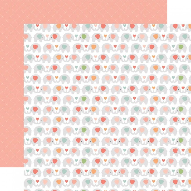 Papel Estampado Doble Cara 12x12 Baby Girl Sweet Elephants