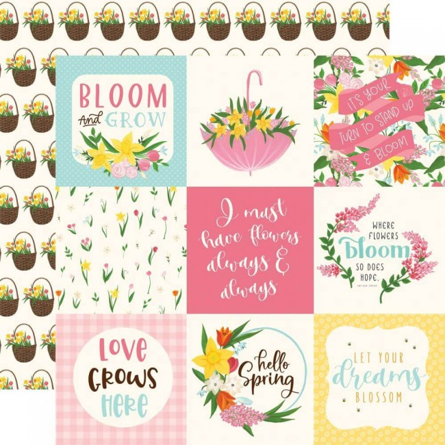"Papel Estampado Doble Cara 12x12 I love Spring 4""X4"" Journaling Cards"