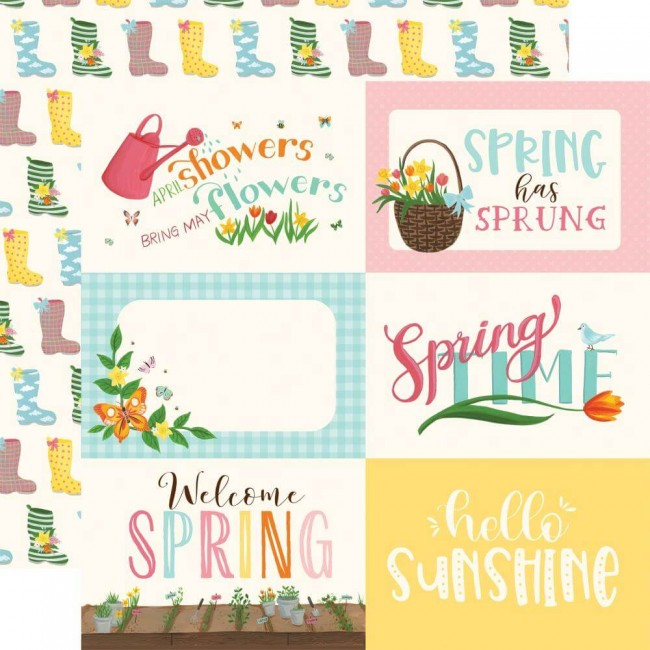 "Papel Estampado Doble Cara 12x12 I love Spring 6""X4"" Journaling Cards"
