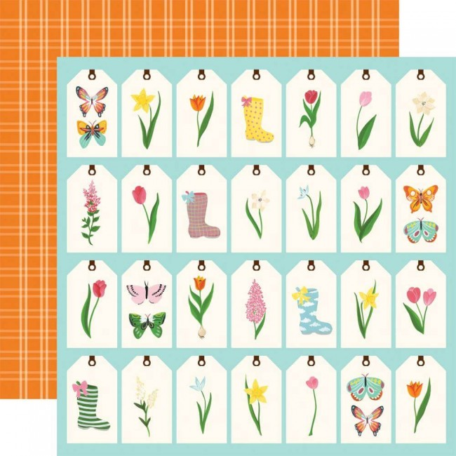 Papel Estampado Doble Cara 12x12 I love Spring Spring Tags